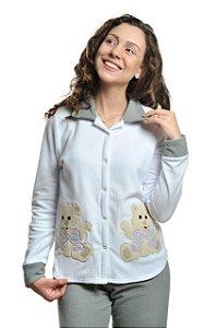 Pijama Abotoado Inverno Amamentação Cinza mescla - Urso Laço