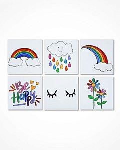 Conjunto 6 quadros arco-íris 20x 20 cm