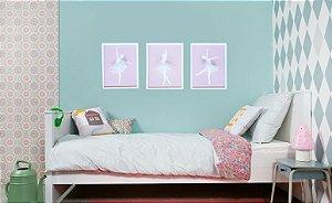 Conjunto 3 quadros Bailarinas com moldura 27x35 cm