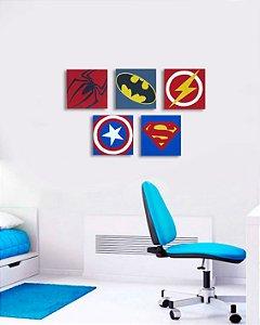Conjunto 5 quadros Herois 20x20 cm