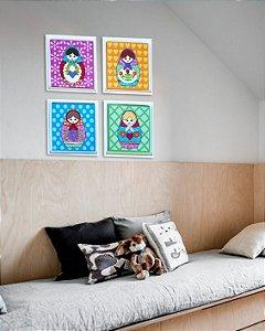 Conjunto 4 quadros matrioskas com moldura 25x25 cm