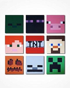 Conjunto 9 quadros Minecraft 30x30 cm