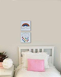 Conjunto 2 quadros arco-íris 20x20 cm