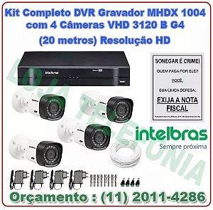 Kit Câmeras de Segurança Intelbras + Dvr Mhdx 1004 + 4 Câmeras Vhd 3120