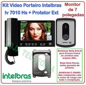 Kit Vídeo Porteiro Intelbras Iv 7010 Hs Preto + Protetor Externo