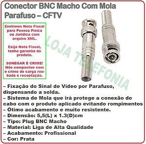 Conector BNC Macho Com Mola Parafuso – CFTV (pacote com 20 unidades).