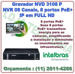Gravador NVR Intelbras NVD 3108 P 8 Canais IP Full HD 1080P 8 portas PoE+