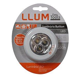 Luminária LED LLUM Button Branca Com Fita de Alta Fixação
