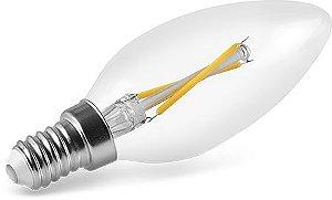 Lâmpada Vela LED Filamento Bivolt Save Energy E14 2W 127V 2400K (Luz Quente)