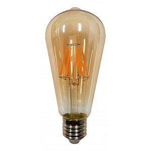 Lâmpada ST64 LED Retrô Filamento Ecoforce Bivolt 3,5W 2200K (Luz Quente)