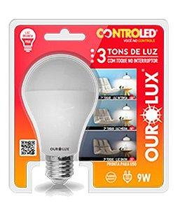 Lâmpada Bulbo LED Ourolux 3 Tons de Luz Bivolt 9W 6500K (Luz Fria)