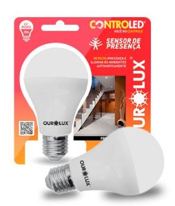 Lâmpada Bulbo LED Com Sensor de Presença Ourolux Controled 9w 6500K E27 Bivolt