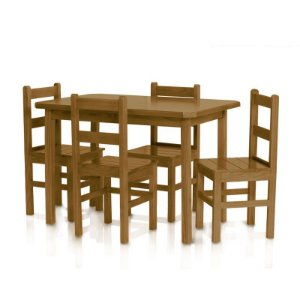 Conjunto Mesa Bonacor com 4 cadeiras cor imbuia