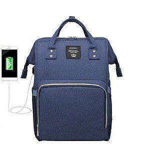Bolsa Mochila Maternidade LeQueen Original com USB Azul Marinho