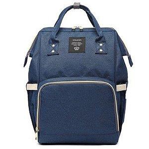 Bolsa Mochila Maternidade LeQueen Original Azul Marinho com USB