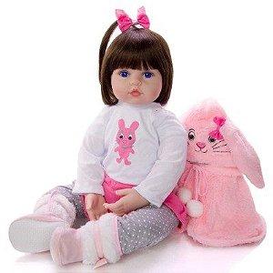 Boneca Bebê Reborn Realista Silicone e Algodão 48 cm Pronta Entrega Olhos Azuis