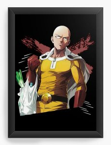 Quadro Decorativo A4(33X24) Anime Saitama Badass - One Punch