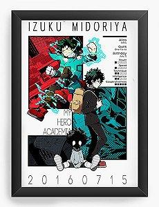 Quadro Decorativo A4(33X24) Anime One's Justice My Hero Academa