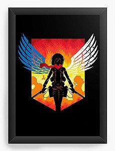 Quadro Decorativo A4(33X24) Anime Attack on Titan  Mikasa Ackerman