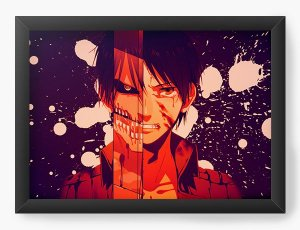 Quadro Decorativo A4(33X24) Anime Attack on Titan Eren Yeager Warrior
