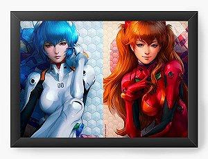 Quadro Decorativo A4(33X24) Anime Neon Genesis Evangelion Girls