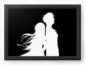 Quadro Decorativo A4(33X24) Anime Steins Gate  Rintarō e Kurisu Makise