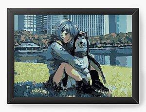 Quadro Decorativo A3 (45X33) Anime Neon Genesis Evangelion  Rei Ayanami  and Dog
