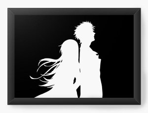 Quadro Decorativo A3 (45X33) Anime Steins Gate  Rintarō e Kurisu Makise