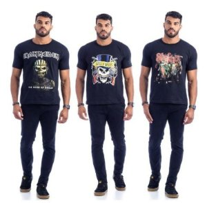 Camisetas Banda de Rock Estampada (Kit com 10 Unidades)