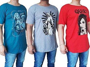 Camisas Masculina Longline Estampada