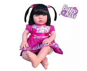 Boneca Bebe Baby Kiss Estilo Reborn Morena