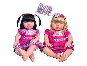 Kit Duas Boneca Bebe Baby Kiss Estilo Reborn Loira + Morena