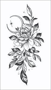 Tatuagem antebraço Rosa e Lua