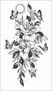 Tatuagem antebraço Rosa, Borboletas e Sol