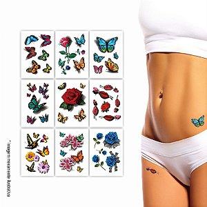 9 Cartelas | Tatuagem Temporária Depilação 3D