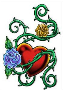 C001 Espinhos, Coração e Flor
