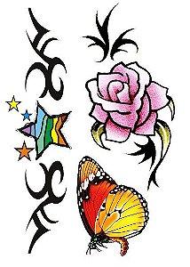 C013 Estrela, Borboleta e Flor