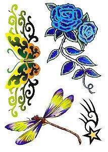 C017 Libélula, Flor e Borboleta