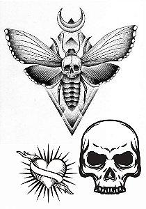 PB045 Caveria, Coração e Caveira com borboleta