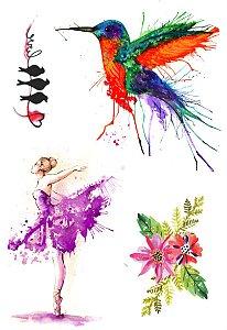 AQ011 Pássaros Bailarina e Flor