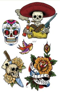 VG006 Caveira mexicana, Caveira com faca e Flor