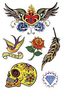 VG007 Coração, andorinha, pena, flor, caveira e diamante