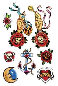 VG008 Mão com chave, flores, lua e âncora