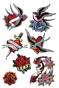 VG009 Andorinha, coração com adaga, flores e caveira mexicana