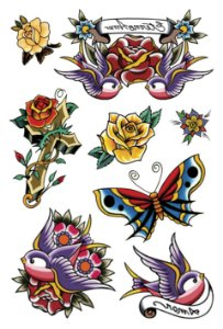 VG014 Flores, borboleta e andorinhas