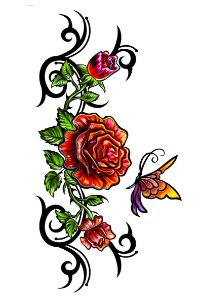 003 Feminina Grande flores e borboleta