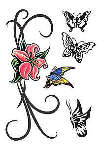 004 Feminina Grande flores e borboleta