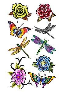 018 Feminina Grande Flores Libélula e Borboleta