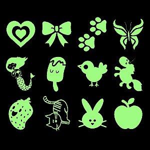 002 Kit Festa Grande Brilha no Escuro, Frutas e Animais