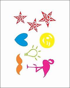 NEON 09 - Estrelas, Flamingo e Bigode